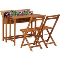 Balcony Planter Table with 2 Bistro Chairs Solid Acacia Wood VD29888 - Hommoo
