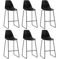 Bar Chairs 6 pcs Black Plastic - Hommoo