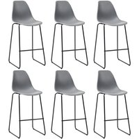 Bar Chairs 6 pcs Grey Plastic - Hommoo