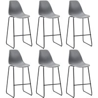 Bar Chairs 6 pcs Grey Plastic QAH21816 - Hommoo