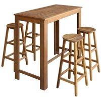 Hommoo Bar Table and Stool Set 5 Pieces Solid Acacia Wood