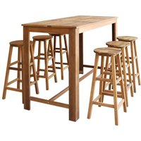 Hommoo Bar Table and Stool Set 7 Pieces Solid Acacia Wood VD12595