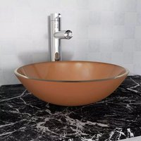 Basin Tempered Glass 42 cm Brown VD04390 - Hommoo