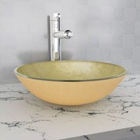 Basin Tempered Glass 42 cm Gold VD04391 - Hommoo