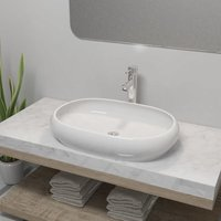 Hommoo Bathroom Basin with Mixer Tap Ceramic Oval White VD18391