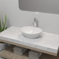 Bathroom Basin with Mixer Tap Ceramic Oval White VD18392 - Hommoo