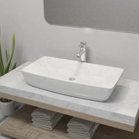 Bathroom Basin with Mixer Tap Ceramic Rectangular White VD18388 - Hommoo