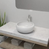 Bathroom Basin with Mixer Tap Ceramic Round White VD18390 - Hommoo