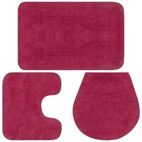 Hommoo Bathroom Mat Set 3 Pieces Fabric Fuchsia VD02204