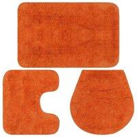 Bathroom Mat Set 3 Pieces Fabric Orange VD02205 - Hommoo