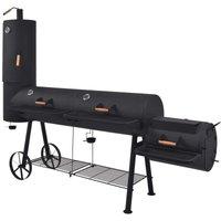 BBQ Charcoal Smoker with Bottom Shelf Black Heavy XXXL VD27541 - Hommoo