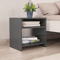 Bedside Cabinet High Gloss Grey 40x30x40 cm Chipboard VD31054 - Hommoo
