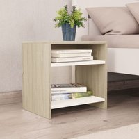 Bedside Cabinet White and Sonoma Oak 40x30x40 cm Chipboard VD31048 - Hommoo