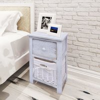 Bedside Cabinet Wood White VD09480 - Hommoo
