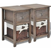 Bedside Cabinets 2 pcs Wood Brown QAH09483 - Hommoo