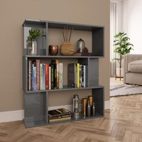 Book Cabinet/Room Divider High Gloss Grey 80x24x96 cm Chipboard VD31118 - Hommoo