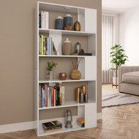 Book Cabinet/Room Divider High Gloss White 80x24x159 cm Chipboard VD31134 - Hommoo