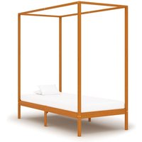 Canopy Bed Frame Honey Brown Solid Pine Wood 100x200 cm VD24147 - Hommoo