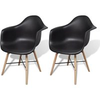 Hommoo Dining Chairs 2 pcs Black Plastic and Beechword VD33018