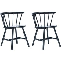 Dining Chairs 2 pcs Black Solid Rubber Wood - Hommoo