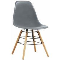 Dining Chairs 2 pcs Grey Plastic QAH14047 - Hommoo
