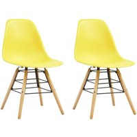 Dining Chairs 2 pcs Yellow Plastic - Hommoo