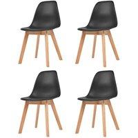 Dining Chairs 4 pcs Black Plastic VD10823 - Hommoo