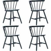 Dining Chairs 4 pcs Black Solid Rubber Wood - Hommoo