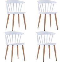 Hommoo Dining Chairs 4 pcs White Plastic VD19086