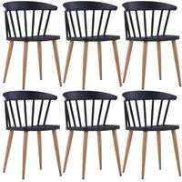 Dining Chairs 6 pcs Black Plastic - Hommoo