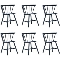 Dining Chairs 6 pcs Black Solid Rubber Wood - Hommoo