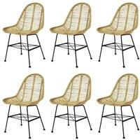 Hommoo Dining Chairs 6 pcs Natural Rattan
