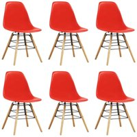 Dining Chairs 6 pcs Red Plastic VD14061 - Hommoo