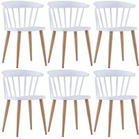 Hommoo Dining Chairs 6 pcs White Plastic VD19087
