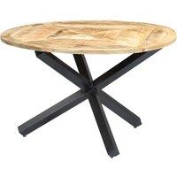 Dining Table Round 120x76 cm Solid Mango Wood QAH23848 - Hommoo