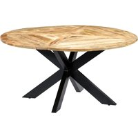 Hommoo Dining Table Round 150x76 cm Solid Mango Wood VD23849