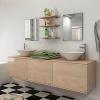 Hommoo Eight Piece Bathroom Furniture and Basin Set Beige VD15791