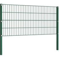 Fence Panel with Posts Iron 1.7x0.8 m Green QAH06307 - Hommoo
