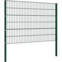 Fence Panel with Posts Iron 1.7x1.2 m Green QAH06308 - Hommoo