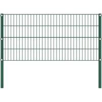 Fence Panel with Posts Iron 3.4x0.8 m Green QAH20966 - Hommoo