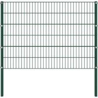 Fence Panel with Posts Iron 3.4x1.2 m Green QAH21003 - Hommoo
