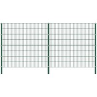 Fence Panel with Posts Iron 3.4x1.6 m Green VD21012 - Hommoo