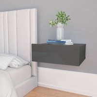 Floating Nightstand High Gloss Grey 40x30x15 cm Chipboard VD31351 - Hommoo