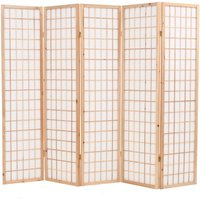 Folding 5-Panel Room Divider Japanese Style 200x170 cm Natural - Hommoo