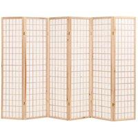 Folding 6-Panel Room Divider Japanese Style 240x170 cm Natural VD11847 - Hommoo