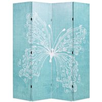 Hommoo Folding Room Divider 160x170 cm Butterfly Blue