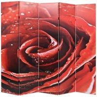 Hommoo Folding Room Divider 200x170 cm Rose Red