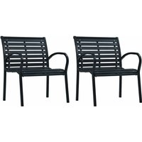 Garden Chairs 2 pcs Black Steel and WPC VD30278 - Hommoo