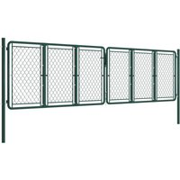 Garden Gate Steel 400x100 cm Green QAH34870 - Hommoo