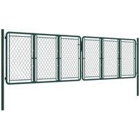 Garden Gate Steel 400x125 cm Green QAH34871 - Hommoo